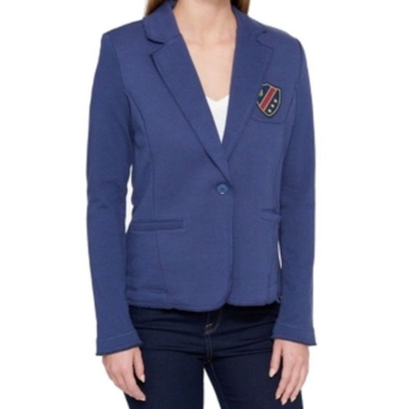 wholesale outlet preview of ever popular NWT Tommy Hilfiger Patch Blazer Blue One-Button NWT